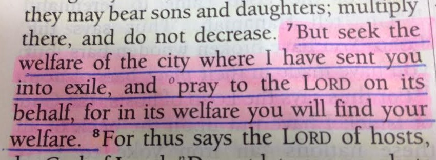 Jeremiah 29:7. Does this apply to the churchtoday?