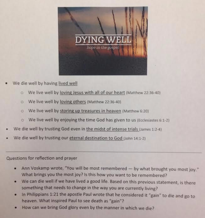 Dying Well Outline